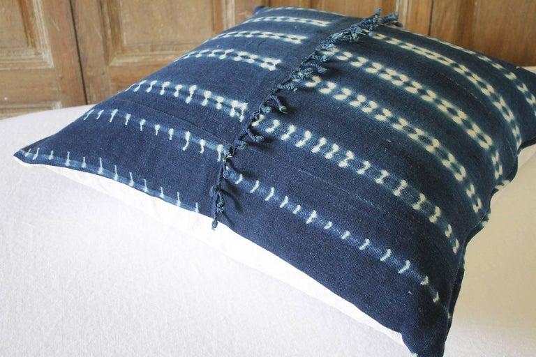 Antique Indigo Blue Batik Accent Pillow with Fringe For Sale 2