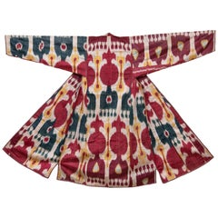 Antique Ikat Chapan from Uzbekistan, Central Asia, Late 19th C.