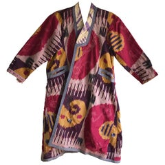 Antique Ikat Dyed Uzbek Silk Robe