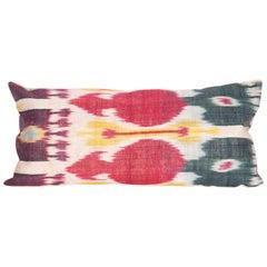 Antique Ikat Lumbar Pillow Case Made from a 19th Century Uzbek Ikat