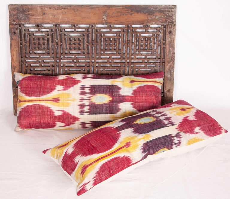 Tribal Antique Ikat Lumbar Pillow Cases Made from a 19th Century Ikat For Sale