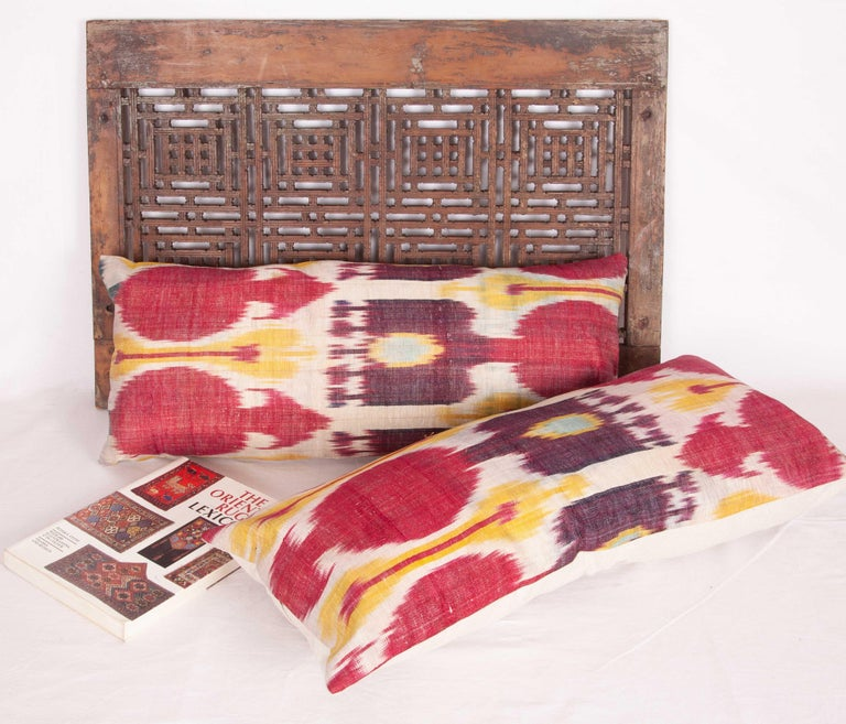 Uzbek Antique Ikat Lumbar Pillow Cases Made from a 19th Century Ikat For Sale