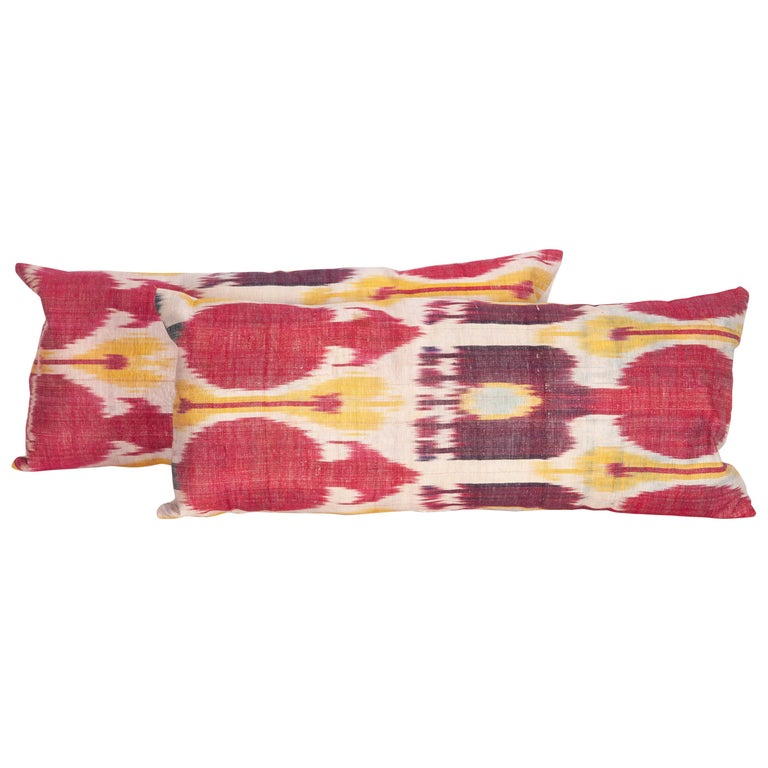 Antique Ikat Lumbar Pillow Cases Made from a 19th Century Ikat For Sale