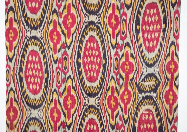 It is silk warp cotton weft , madras irate panel. Their quarter 19th century Lined with a Russian roller printed cotton.