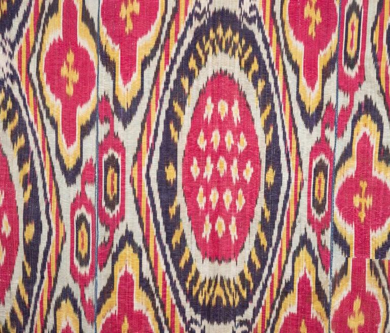 Silk Antique Ikat Panel from Uzbekistan, 1860s For Sale