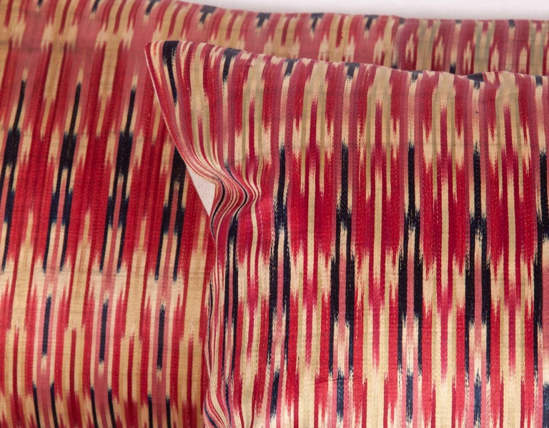 Silk Antique Ikat Pillow Cases Fashioned from a 19th Century Syrian Ikat For Sale