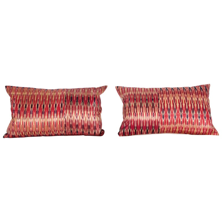 Antique Ikat Pillow Cases Fashioned from a 19th Century Syrian Ikat For Sale