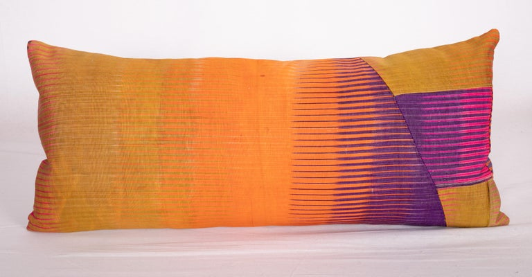 Tribal Antique Ikat Pillow Cases Made from an Ikat Shirt Sleeves, Early 20th Century For Sale