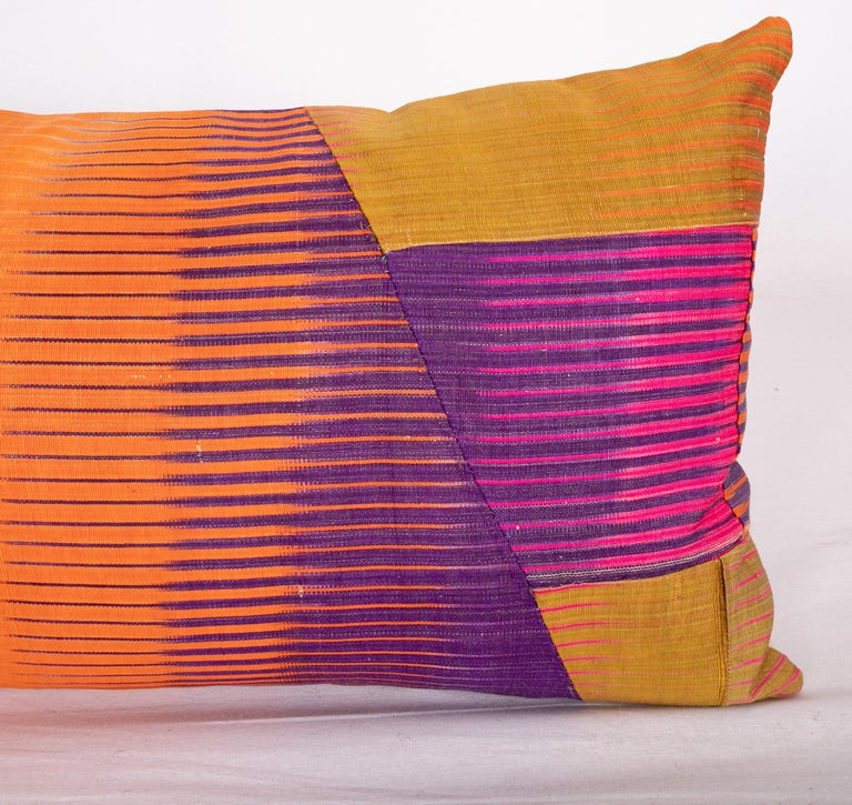 Uzbek Antique Ikat Pillow Cases Made from an Ikat Shirt Sleeves, Early 20th Century For Sale