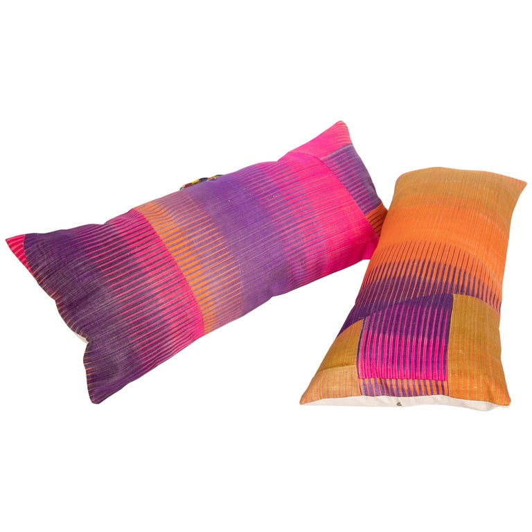 Antique Ikat Pillow Cases Made from an Ikat Shirt Sleeves, Early 20th Century For Sale