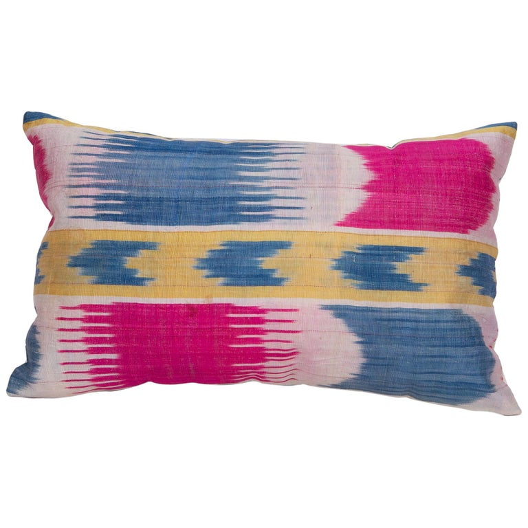 Antique Ikat Pillowcase /Cushion Cover from Uzbekistan, 1900s For Sale