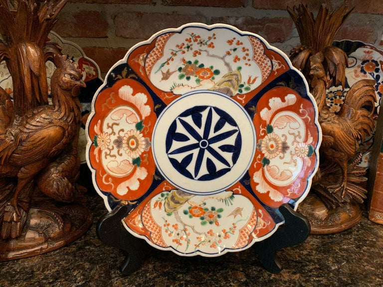 Unknown Antique Imari China Scalloped Charger Plate Porcelain Japanese Chinese Export For Sale