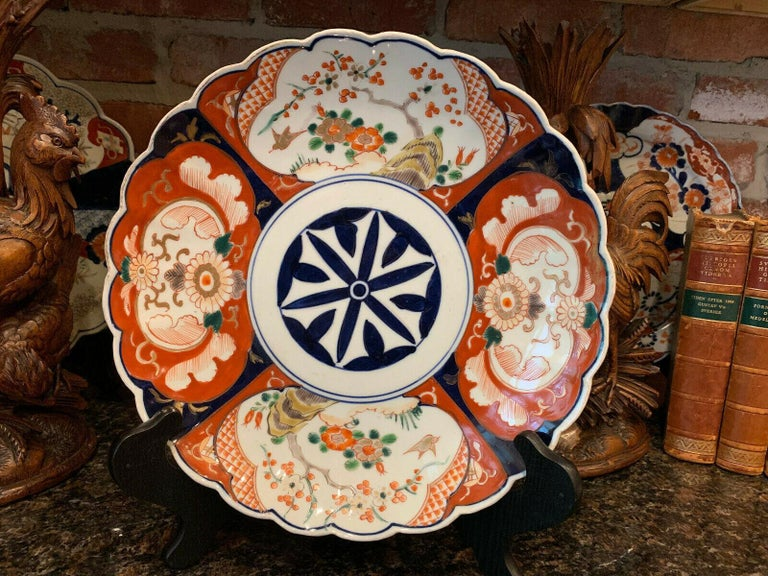 Glazed Antique Imari China Scalloped Charger Plate Porcelain Japanese Chinese Export For Sale