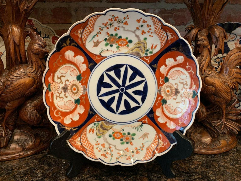 Antique Imari China Scalloped Charger Plate Porcelain Japanese Chinese Export In Good Condition For Sale In Shreveport, LA