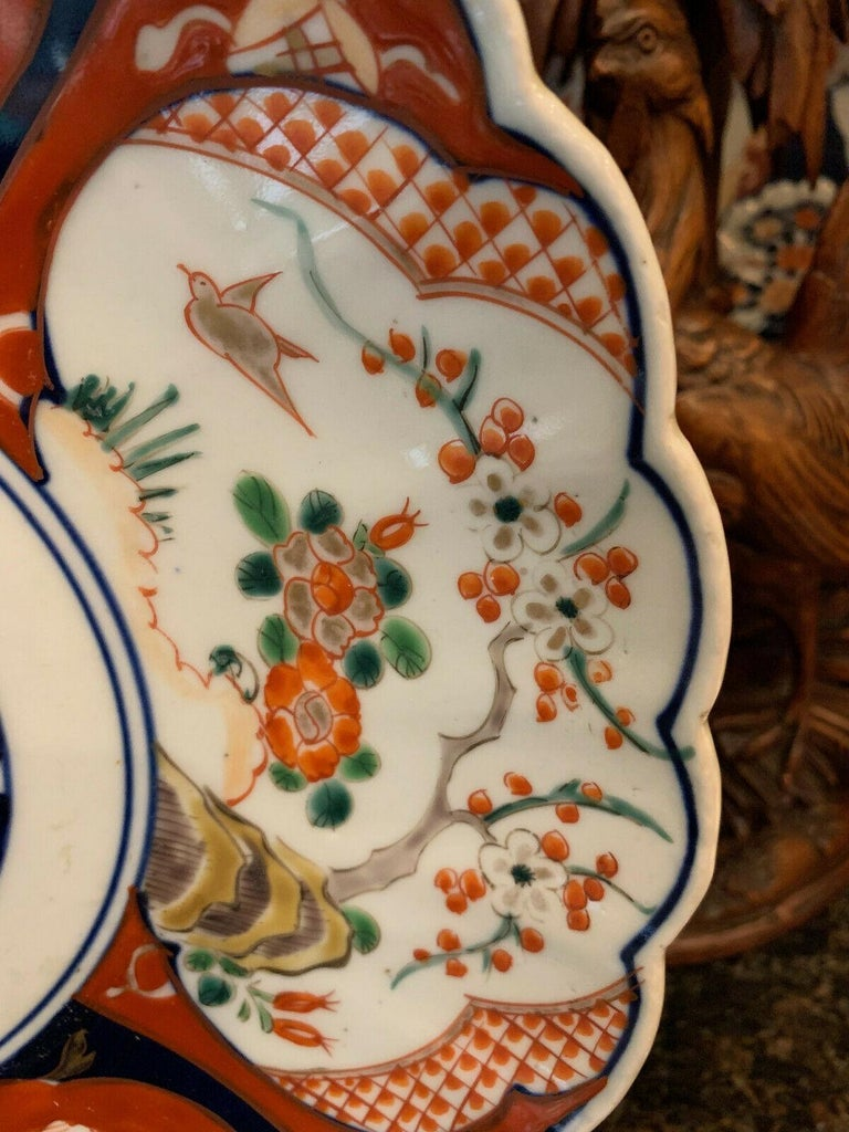 Ceramic Antique Imari China Scalloped Charger Plate Porcelain Japanese Chinese Export For Sale