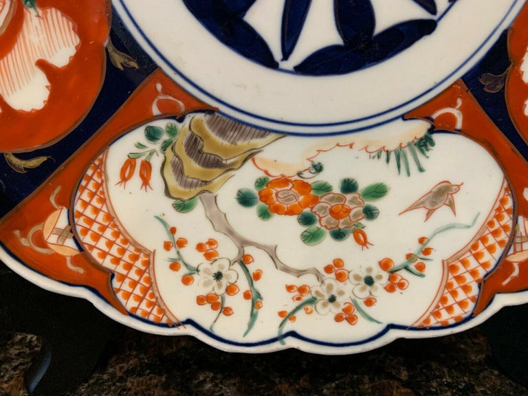 Antique Imari China Scalloped Charger Plate Porcelain Japanese Chinese Export For Sale 1