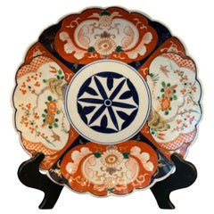 Antique Imari China Scalloped Charger Plate Porcelain Japanese Chinese Export