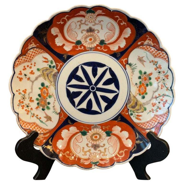 Antique Imari China Scalloped Charger Plate Porcelain Japanese Chinese Export For Sale
