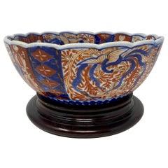 Antique Imari Fluted Japanese Bowl, circa 1890-1910