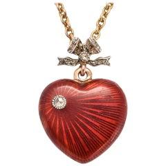 Antique Imperial Russian Fabergé Red Enamel Heart Locket
