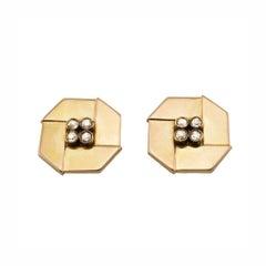 Antique Imperial Russian Geometric Gold Diamonds Cufflinks