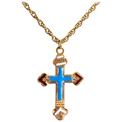 Antique Imperial Russian Gold and Enamel Cross Pendant Necklace