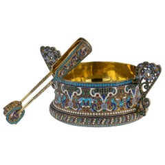 Antique Imperial Russian Solid Silver and Enamel Sugar Bowl & Tongs, circa 1910