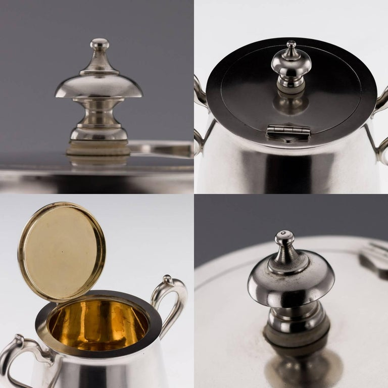 Antique Imperial Russian Solid Silver Matched Tea and Coffee Set circa 1872-1879 For Sale 1