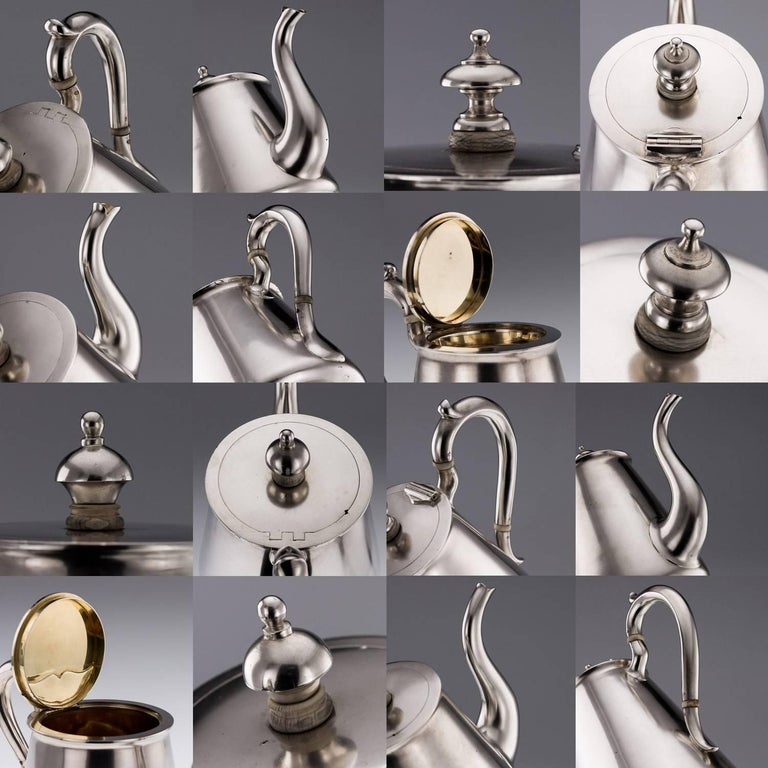 Antique Imperial Russian Solid Silver Matched Tea and Coffee Set circa 1872-1879 For Sale 4