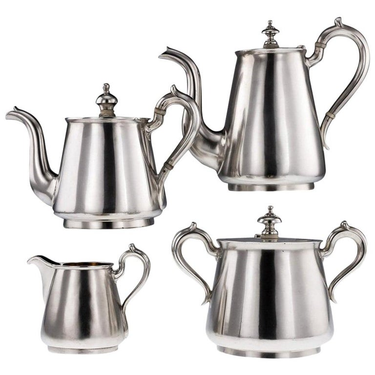 Antique Imperial Russian Solid Silver Matched Tea and Coffee Set circa 1872-1879 For Sale