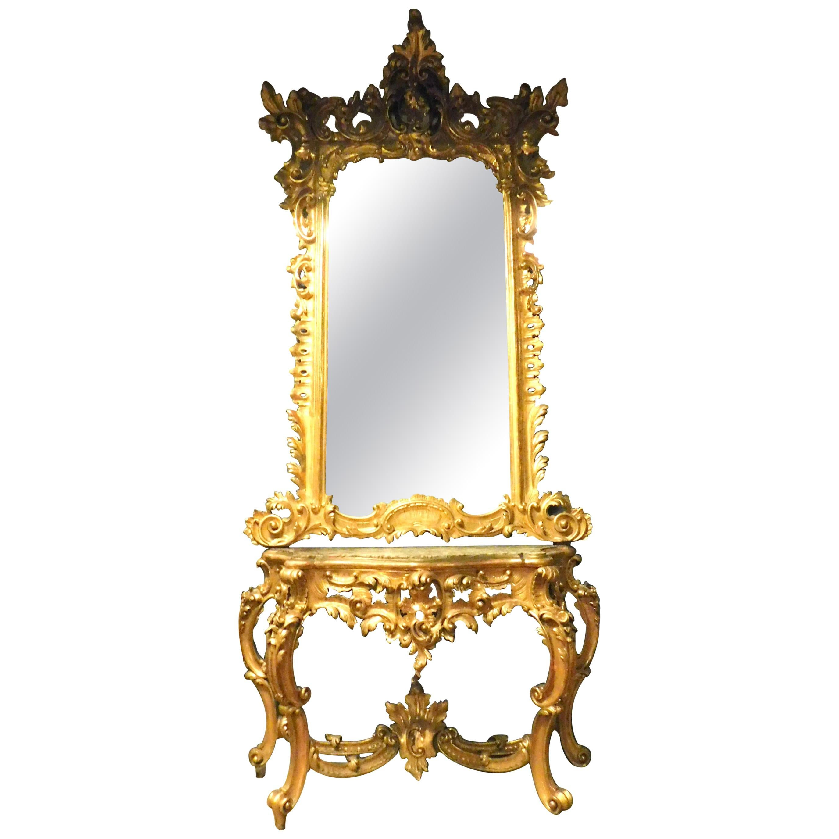 Antique Important Rich Gilded Wooden Console Mirror, Naples, 'Italy', 1700
