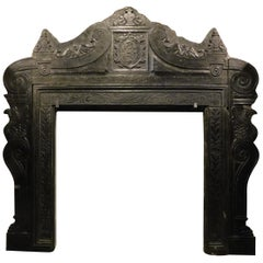 Antique Imposing Fireplace Black Slate, Noble Coat of Arms, 16th Century, Italy
