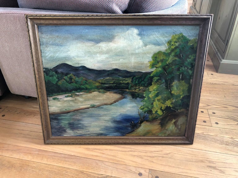 Antique impressionist landscape oil on canvas. Bucolic landscape with trees and blue mountains.