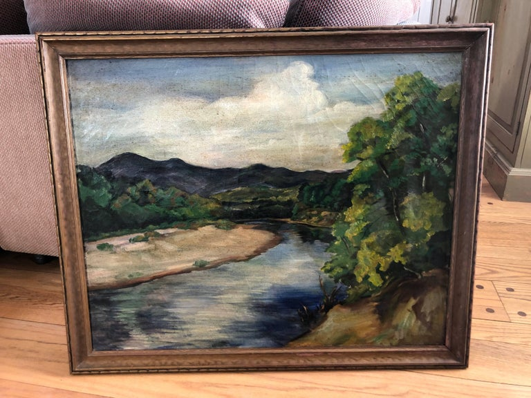 Antique Impressionist Landscape Oil on Canvas In Good Condition For Sale In Redding, CT