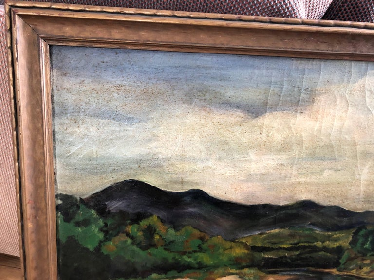 Mid-20th Century Antique Impressionist Landscape Oil on Canvas For Sale