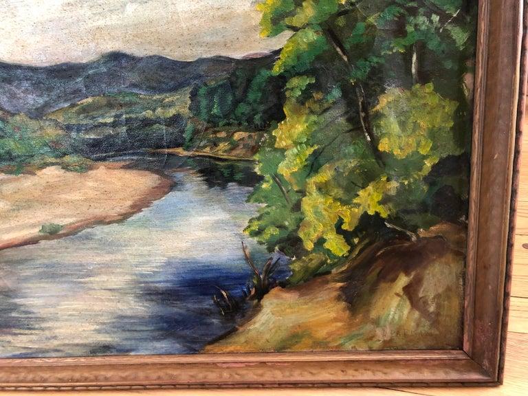 Antique Impressionist Landscape Oil on Canvas For Sale 2