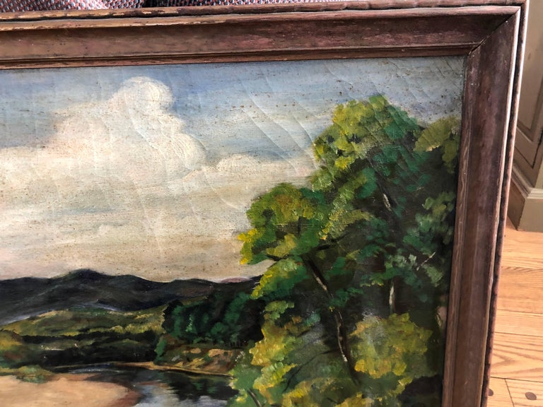 Antique Impressionist Landscape Oil on Canvas For Sale 3