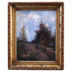 """Antique Impressionist Landscape Painting """"Late November"""" by Hobart B. Jacobs"""