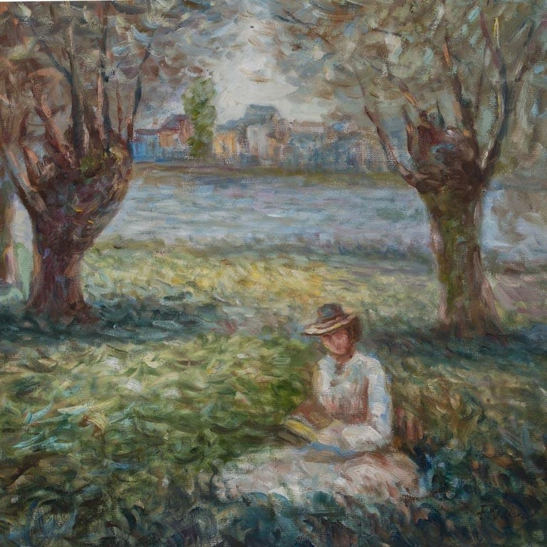 Wonderful impressionist oil painting of a woman sitting in the grass of an urban park. The painting is signed F. John in the lower right and mounted in a gold painted wood frame. Please take a moment to enlarge the photos to appreciate the details