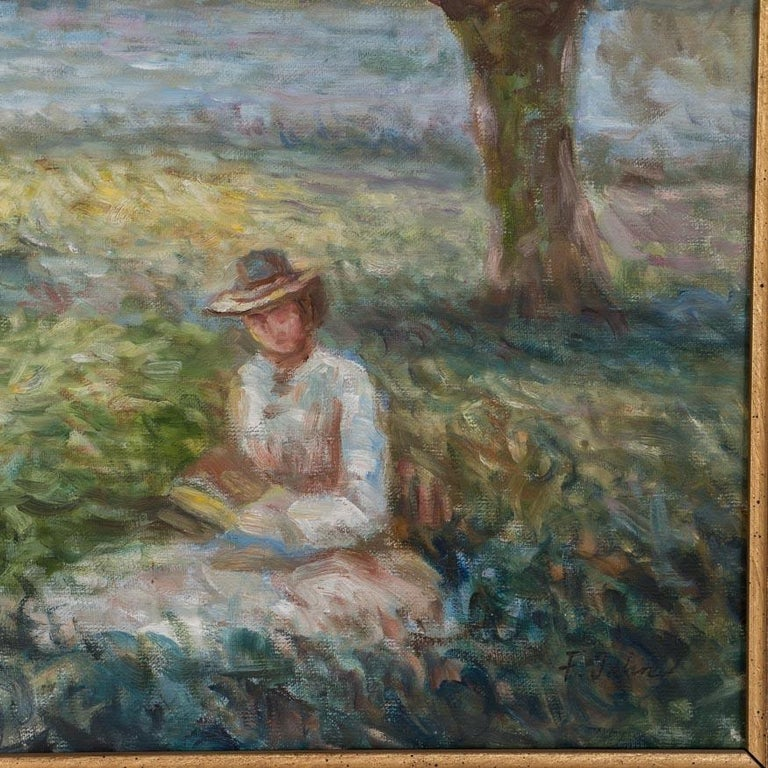 Danish Antique Impressionist Oil Painting, Woman in a Park, Signed F. John For Sale