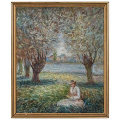 Antique Impressionist Oil Painting, Woman in a Park, Signed F. John