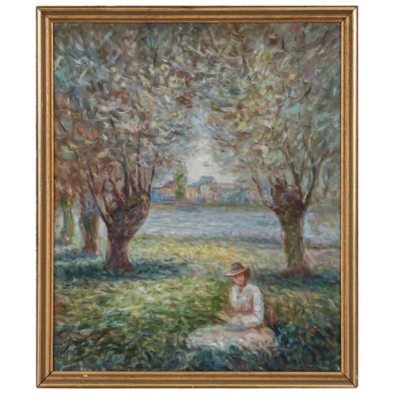 Antique Impressionist Oil Painting, Woman in a Park, Signed F. John For Sale