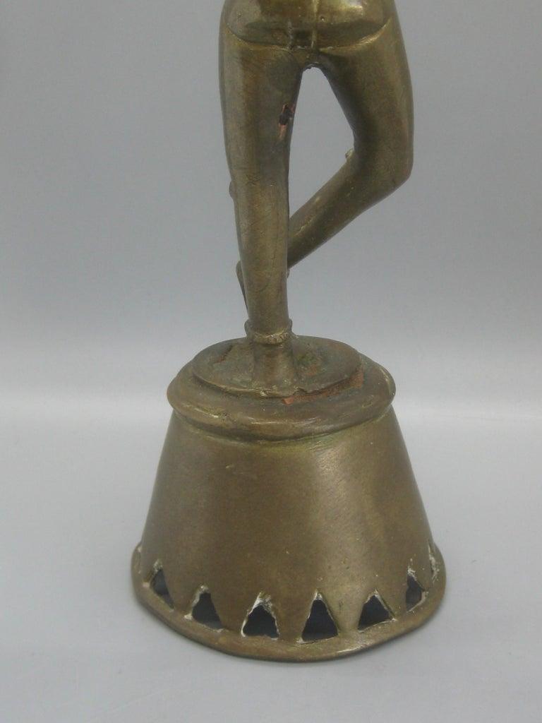 Antique India Hindu Lord Krishna Brass Standing Statue Sculpture For Sale 2