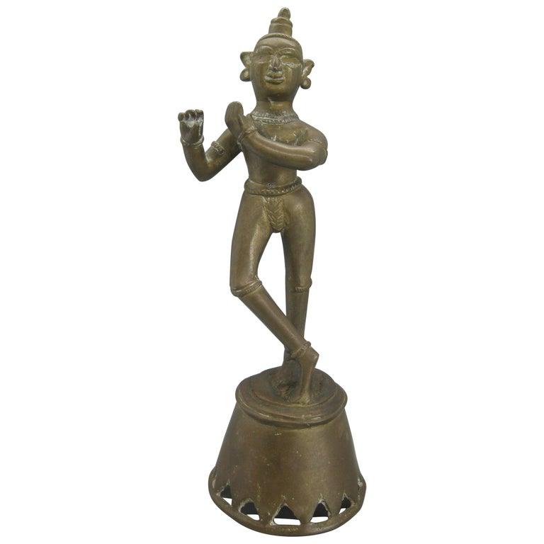 Antique India Hindu Lord Krishna Brass Standing Statue Sculpture For Sale