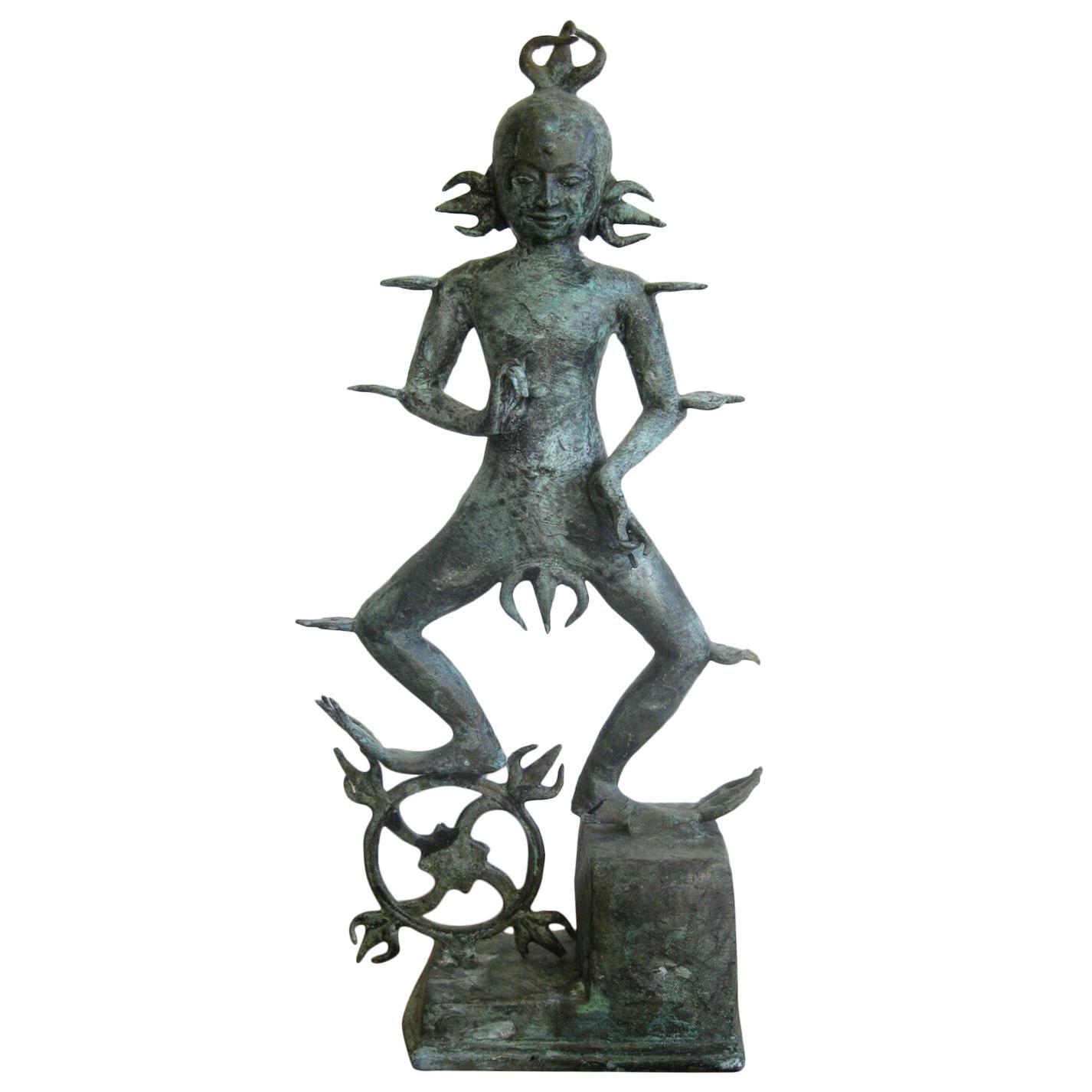 """Antique India Hindu Lord Shiva Rudra """"Dancing Fire God"""" Bronze Statue Sculpture"""