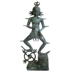 "Antique India Hindu Lord Shiva Rudra ""Dancing Fire God"" Bronze Statue Sculpture"