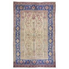 Antique Indian Agra Accent Rug with Blue Border and Traditional Style