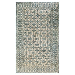 Antique Indian Agra Blue Hand Knotted Cotton Rug
