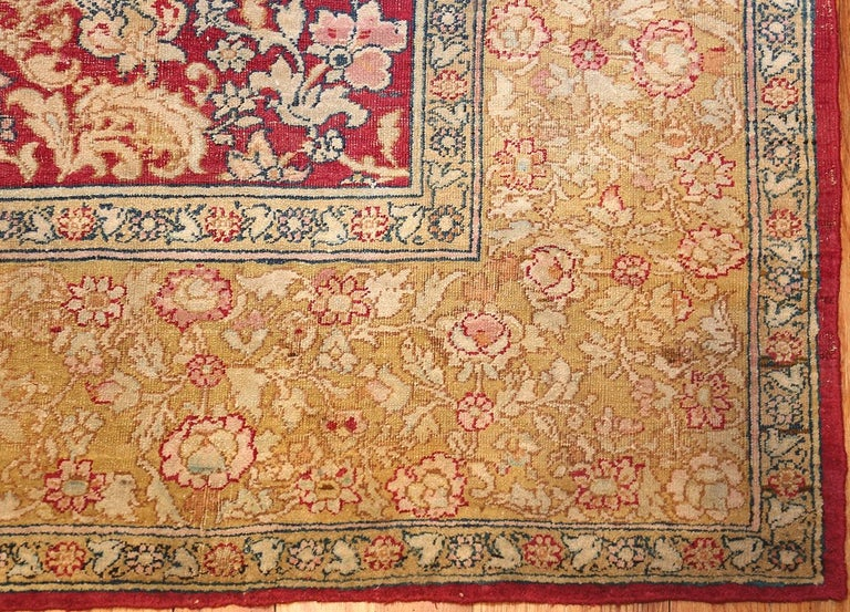 Beautiful and small antique Indian Agra rug, country of origin: India, date circa late 19th century. Size: 5 ft x 7 ft 7 in (1.52 m x 2.31 m). This extremely luxurious and aesthetically charming antique Oriental rug – an antique Oriental Agra Indian