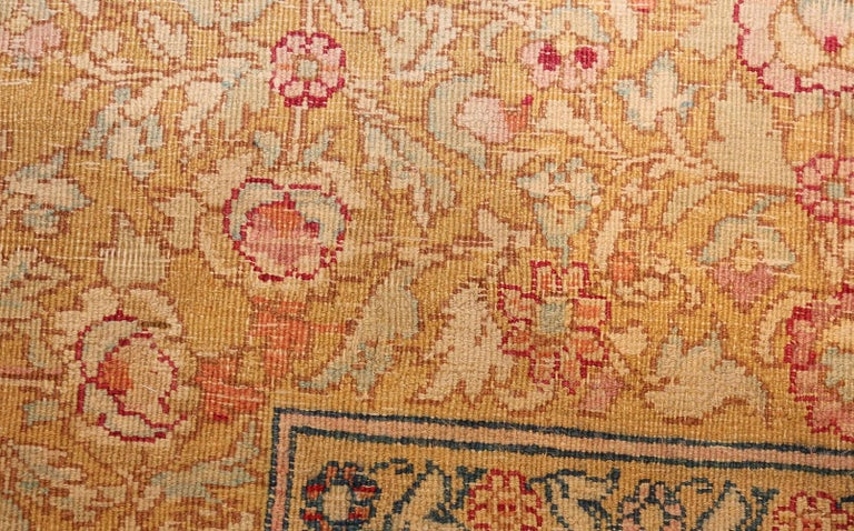 Wool Antique Indian Agra Carpet. Size: 5 ft x 7 ft 7 in (1.52 m x 2.31 m) For Sale